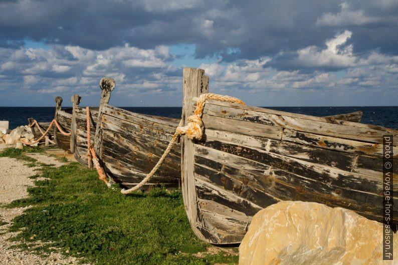 Proues d'anciennes barques de pêche au thon. Photo © Alex Medwedeff