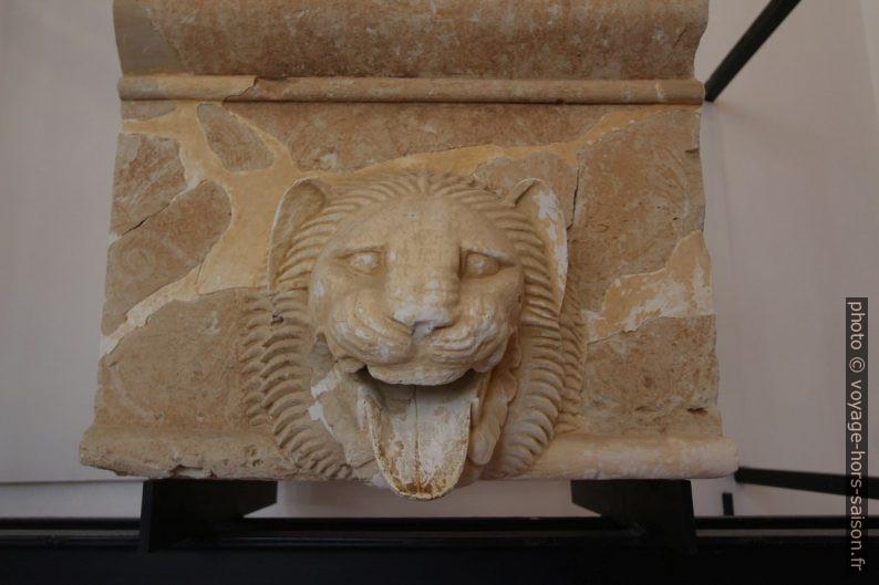 Gouttière décoré d'une tête de lion initialement placé sur une partie plate de temple. Photo © André M. Winter