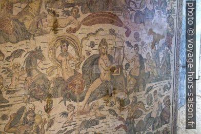Détail de la mosaïque d'Arion de Méthymne dans la Villa romaine du Casale. Photo © André M. Winter