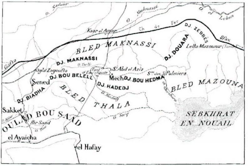Carte du Massif de Bouhedma