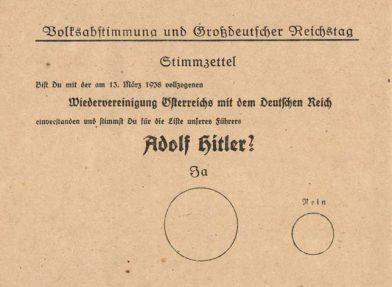 Le bulletin de vote de l'Anschluss