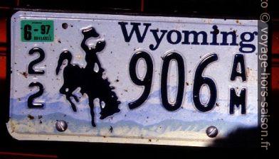 Plaque du Wyoming avec un dompteur de cheval. Photo © André M. Winter