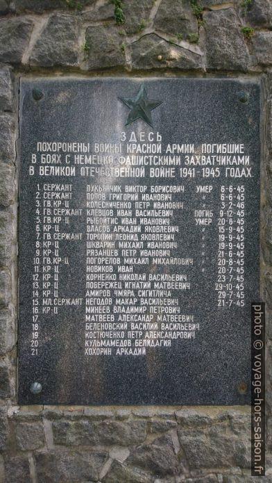 Soldats russes morts à Zwettl après la capitulation de l'Allemagne nazie. Photo © André M. Winter