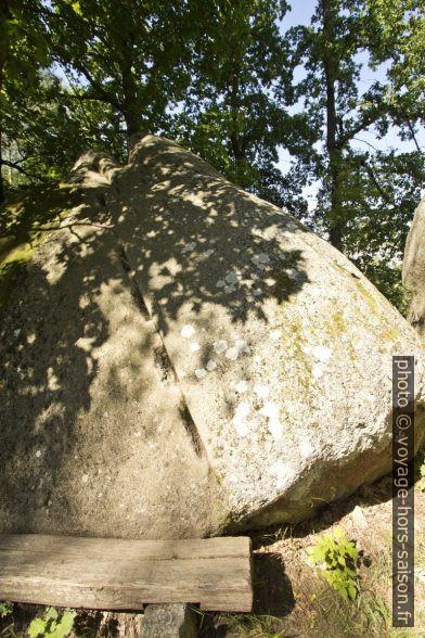 Bloc de granite préparé à faire sauter par gonflement de bois. Photo © André M. Winter