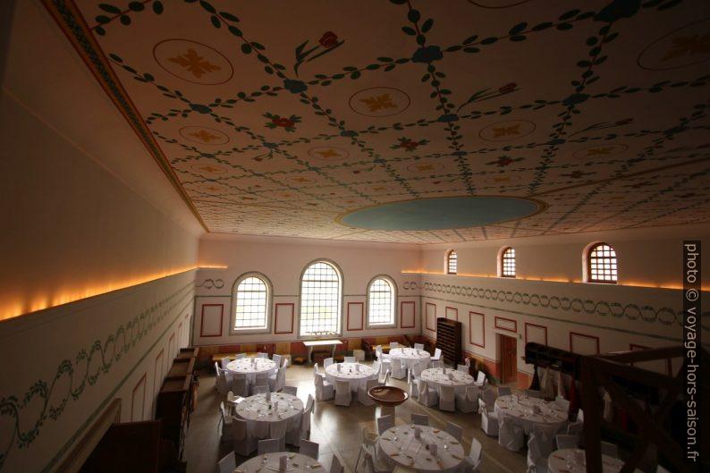 La salle de la Basilika Therarum de Carnuntum préparée pour un mariage . Photo © André M. Winter