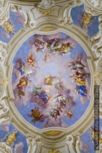 Une des fresques du plafond de la bibliothèque d'Admont. Photo © Alex Medwedeff