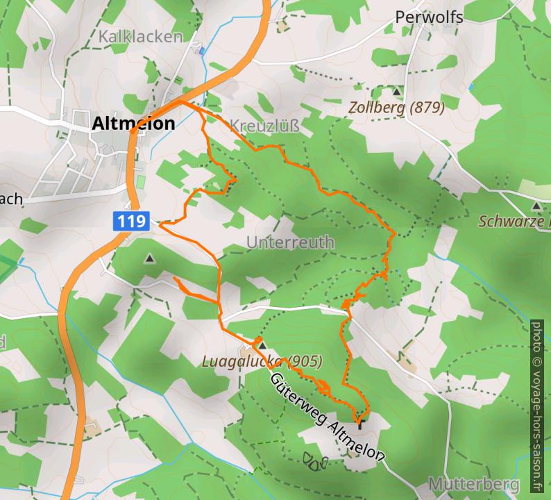 Carte et tracé GPS des Fahrthofer Höhlen. Photo © André M. Winter