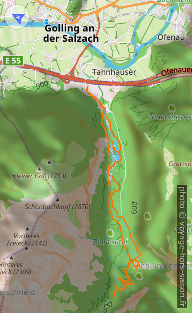 Carte et tracé GPS de la vallée Bluntatal, le nord est à gauche. Photo © André M. Winter