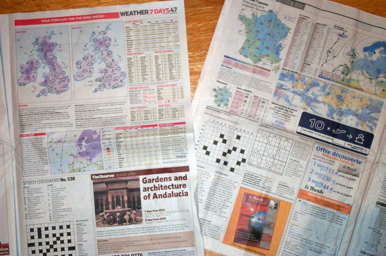 Prévisions météo dans les journaux The Observer et Le Monde. Photo Wikimedia Kaihsu