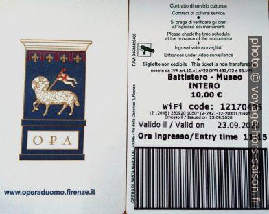 Ticket pour le musée et le baptistère de Florence. Photo © André M. Winter