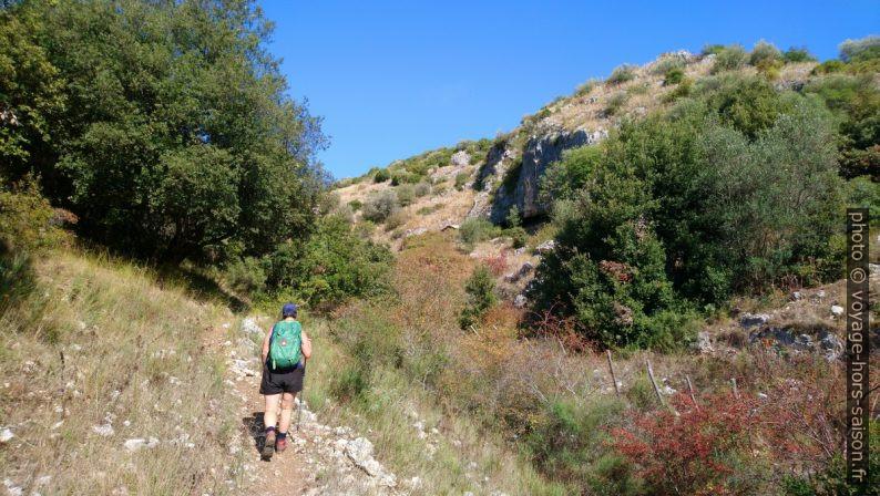 Alex vers le milieu du Valle dell'Inferno di Gargano. Photo © André M. Winter