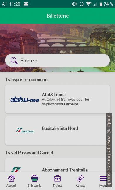 Application Nugo recherche des offres pour Florence. Photo © André M. Winter
