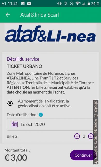 Application Nugo achat de tickets pour Florence. Photo © André M. Winter