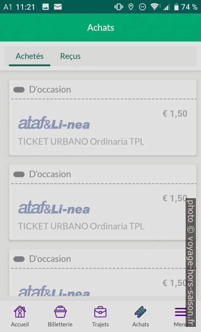 Application Nugo liste des achats avec tickets périmés. Photo © André M. Winter