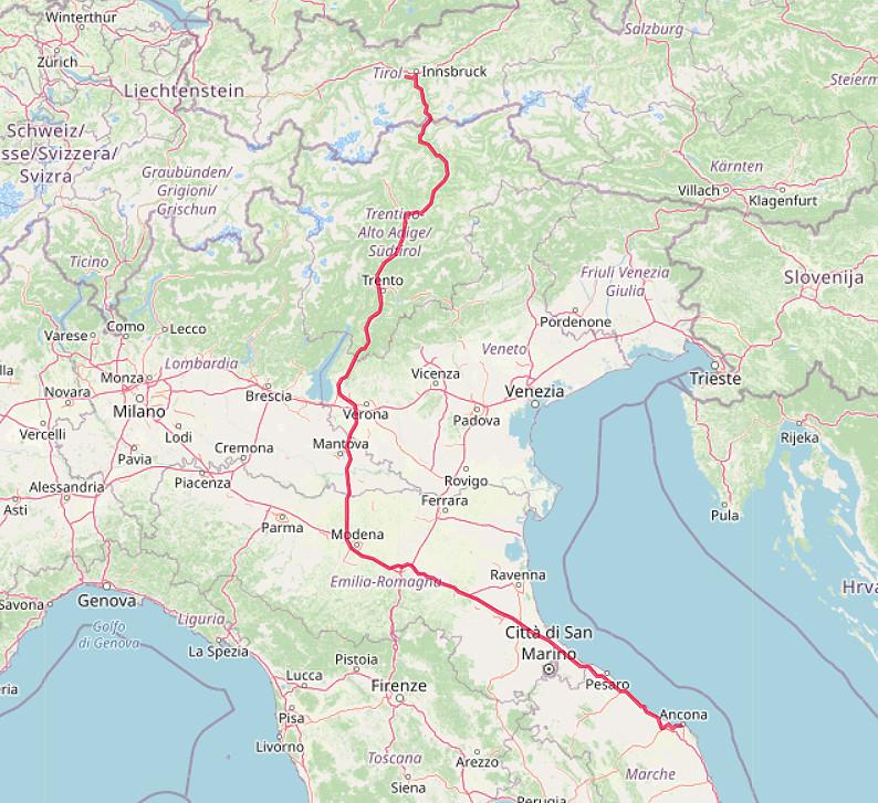 Carte OpenStreetMap de notre route d'Ancône au Tyrol