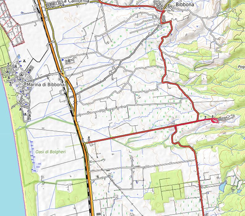 Carte OpenTopoMap du Viale dei Cipressi et de Bolgheri