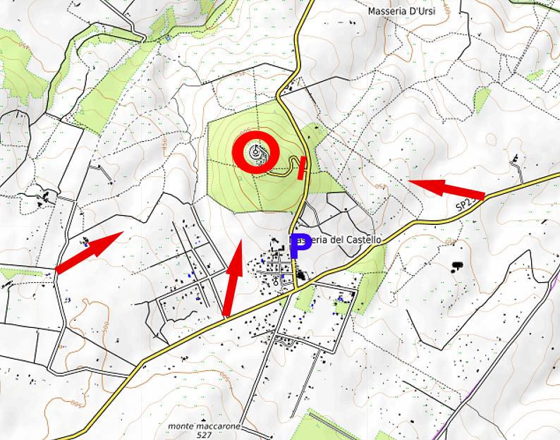 Carte OpenTopoMap avec les vues sur le Castel del Monte