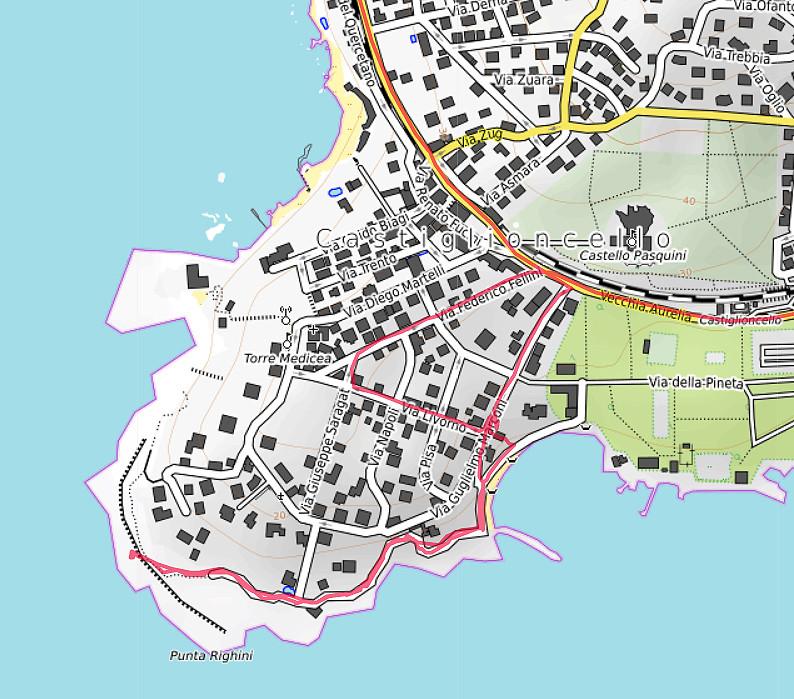 Carte OpenTopoMap de Castiglioncello