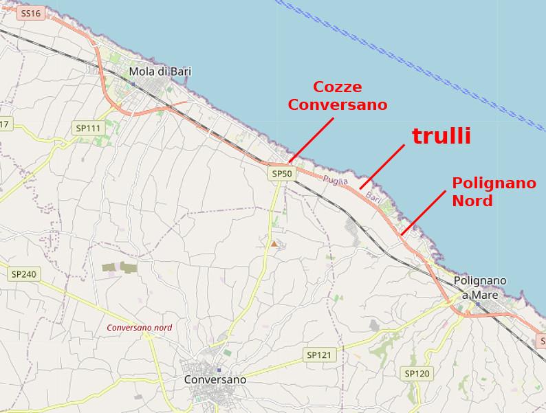 Carte OpenStreetMap de la La Costa dei trulli Ripagnola