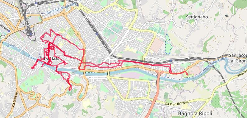 Carte OpenStreetMap de Florence et du camping à l'est