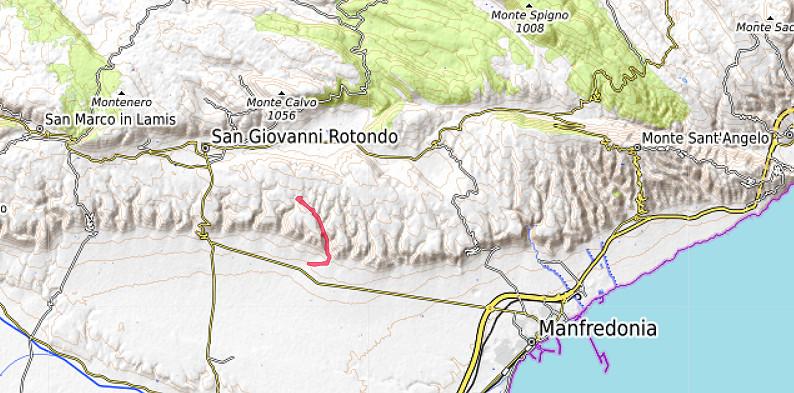 Carte OpenTopoMap du sud du Massif de Gargano