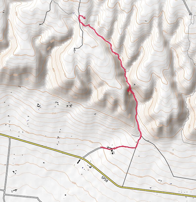 Carte OpenTopoMap du Valle dell'Inferno du Gargano