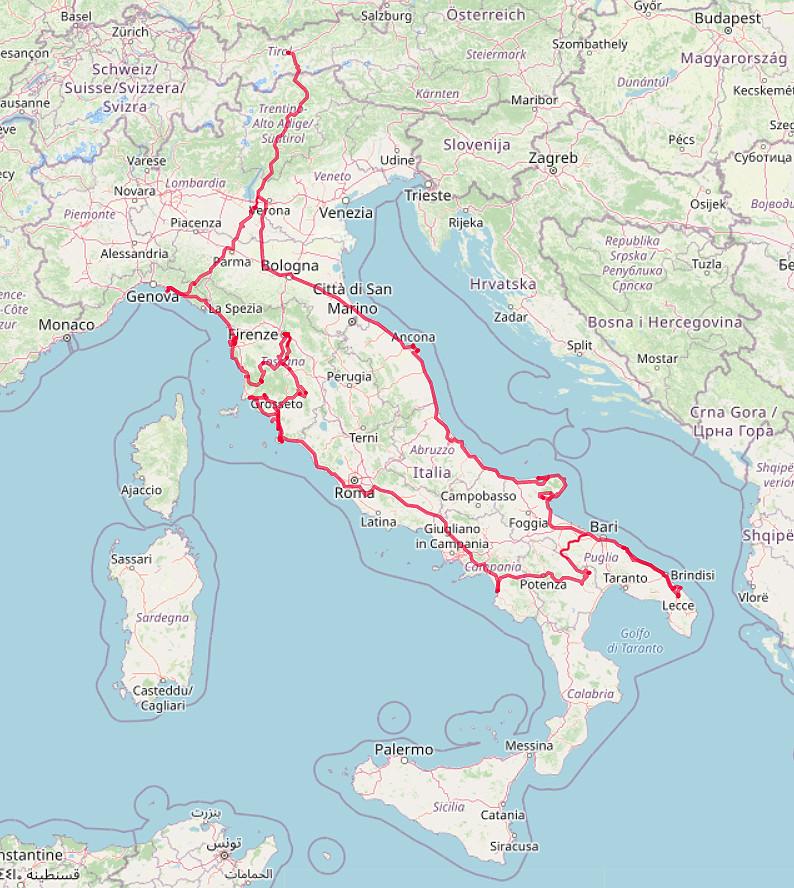 Carte OpenStreetMap de notre tour en Italie en automne 2020