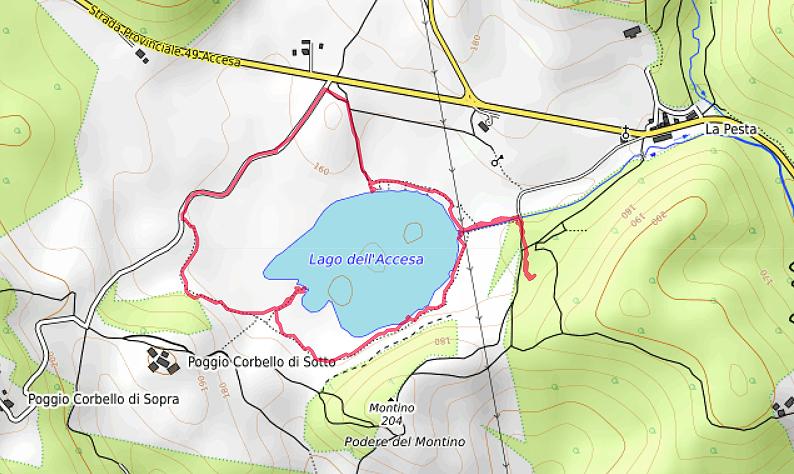 Carte OpenTopoMap du Lago dell'Accesa