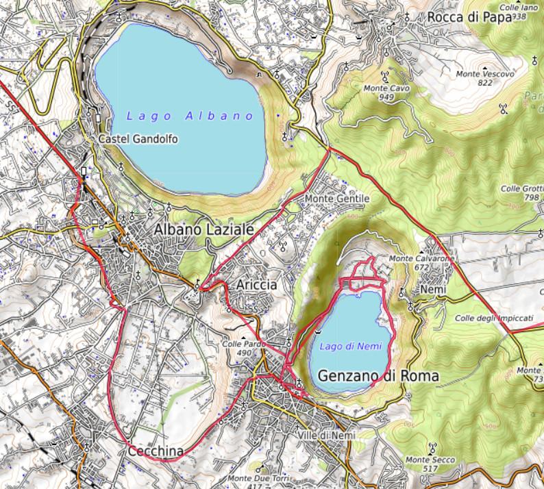 Carte OpenTopoMap du Lago di Nemi