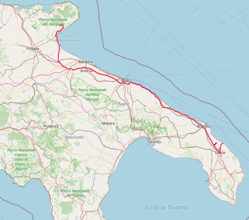 Carte OpenStreetMap de notre route de Lecce à Gargano
