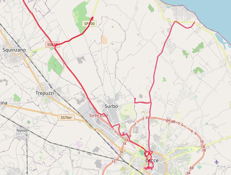 Carte OpenStreetMap de la région de Lecce