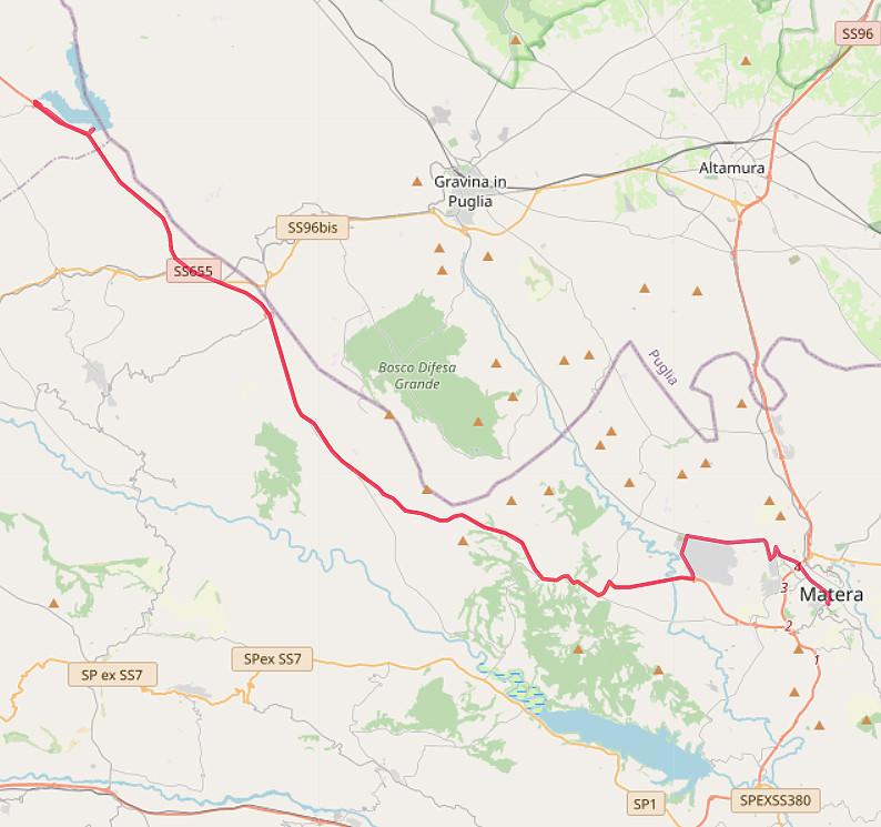Carte OpenStreetMap de notre route de Matera au Lago di Serra di Corvo