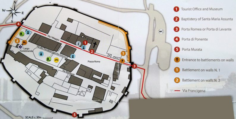 Carte sur le ticket des remparts de Monteriggioni. Photo © André M. Winter