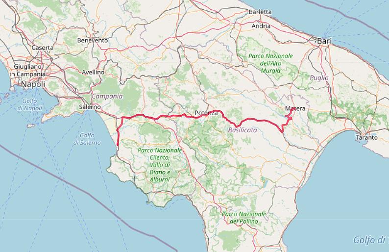 Carte OpenStreetMap de notre route de Paestum à Matera