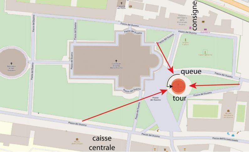 Carte OpenStreetMap de la Tour de Pise et des meilleurs points de vue