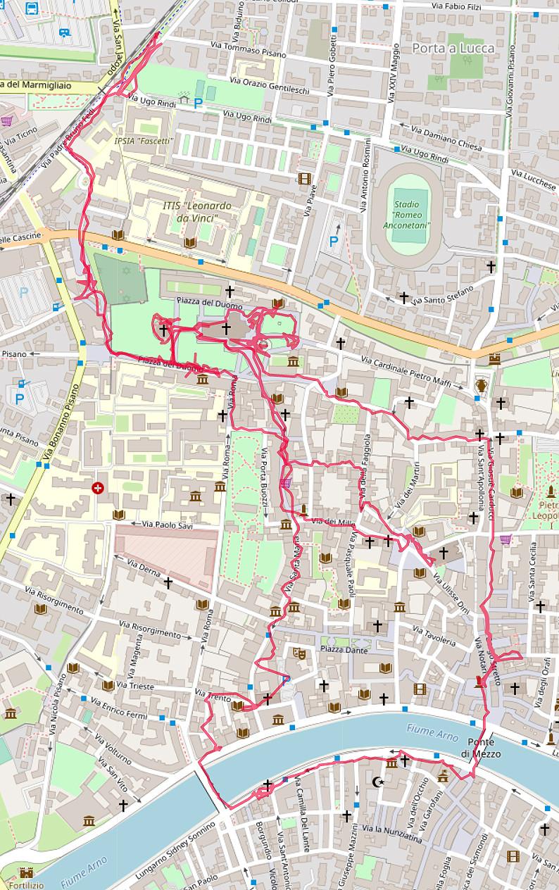 Carte OpenStreetMap de nos cheminements à Pise