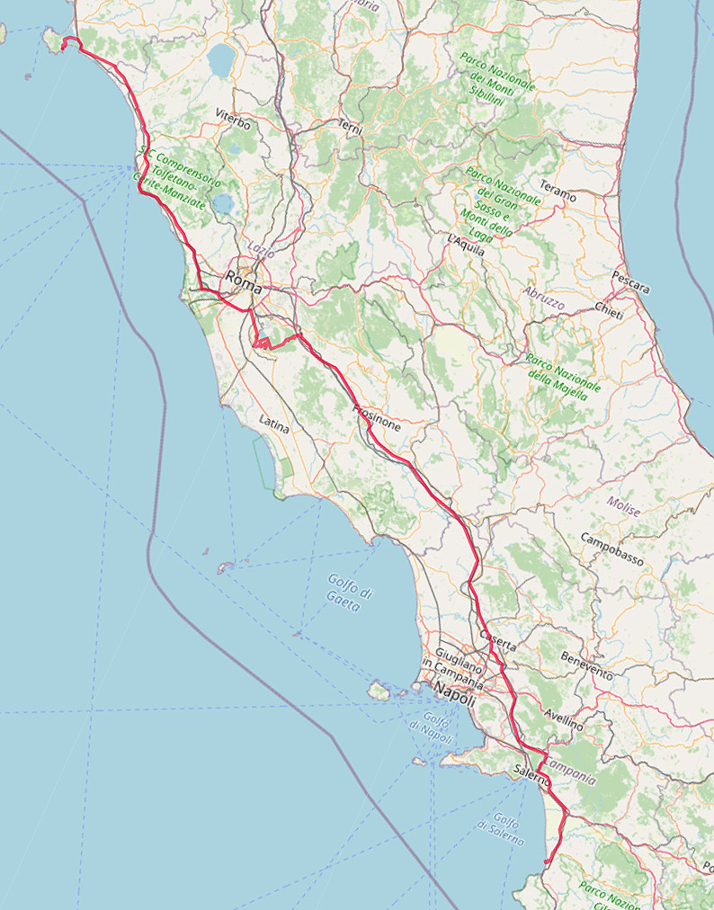 Carte OpenStreetMap de Porto Ercole à Paestum