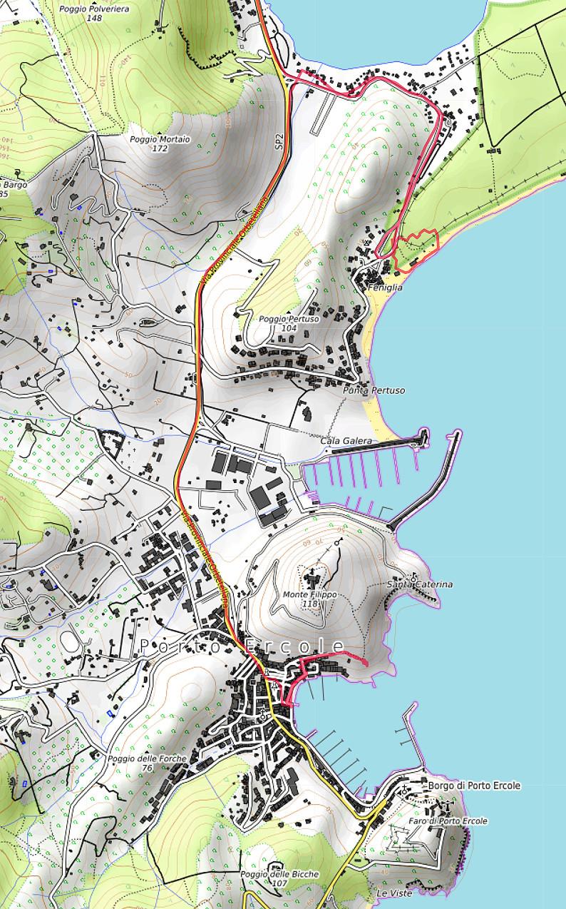 Carte OpenTopoMap de Porto Ercole et de Feniglia