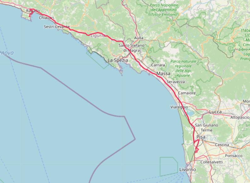 Carte OpenStreetMap de la route de Portofino à Pise