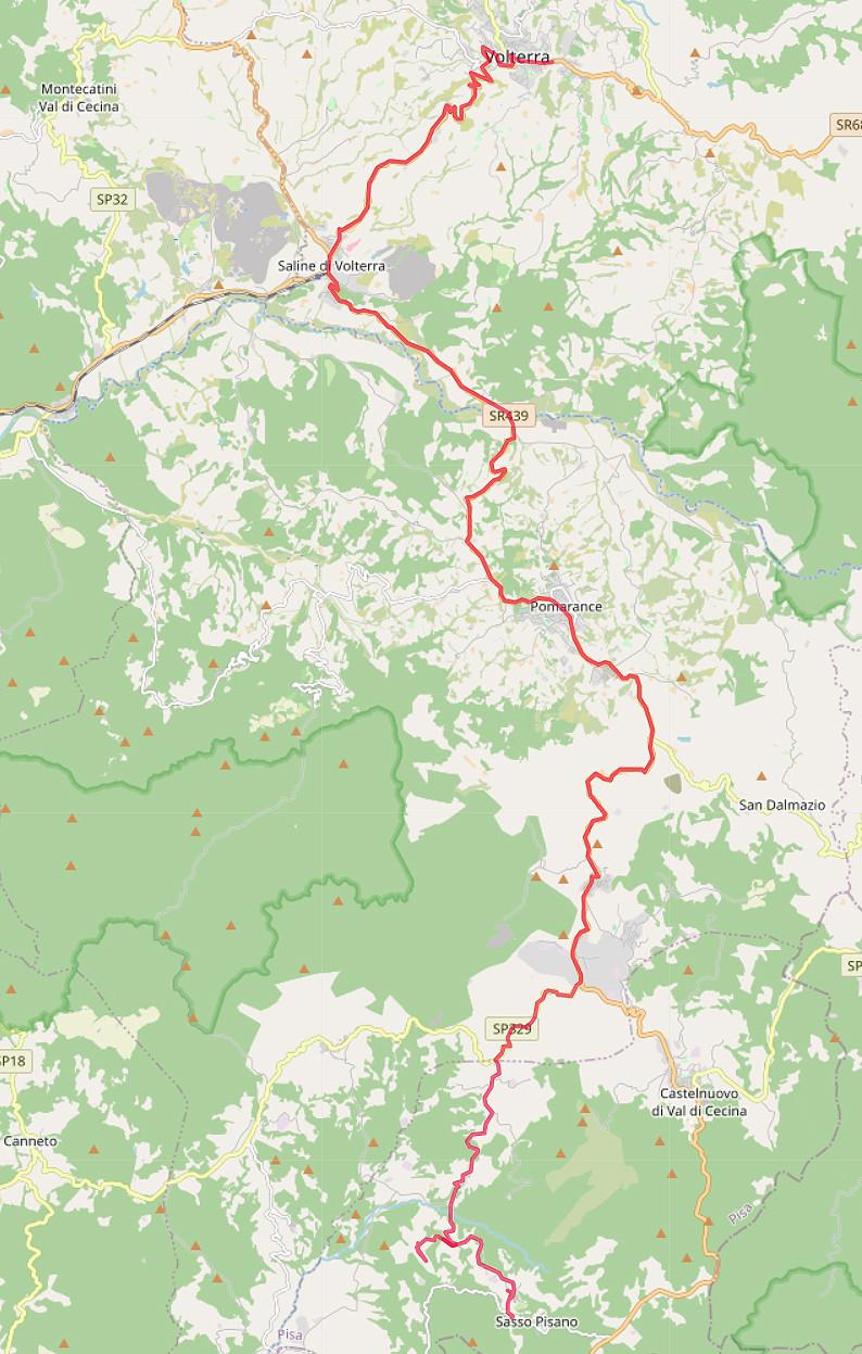 Carte OpenStreetMap de notre route entre Sasso Pisano et Volterra