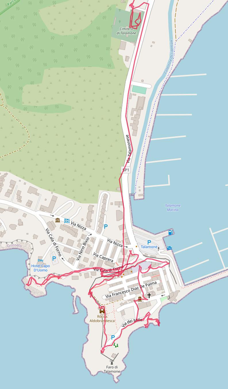Carte OpenStreetMap de Talamone et de son cimetière