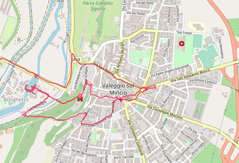 Carte OpenStreetMap de Valeggio sul Mincio et du Borghetto