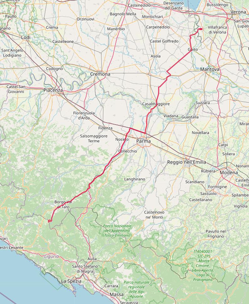 Carte OpenStreetMap de la route de Valeggio au Passo della Cappelletta