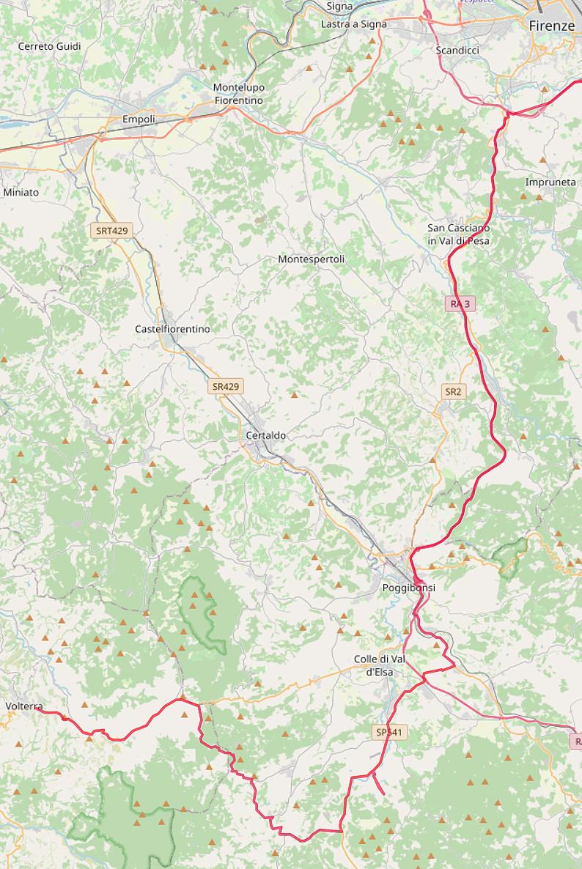 Carte OpenStreetMap de notre route entre Volterra et Florence