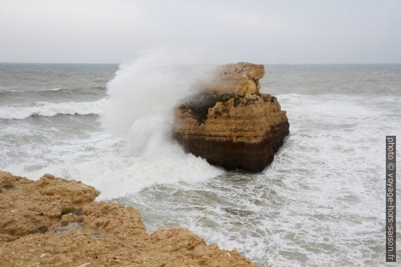 Rocher fouetté par les vagues à l'Algarve en hiver. Photo © Alex Medwedeff