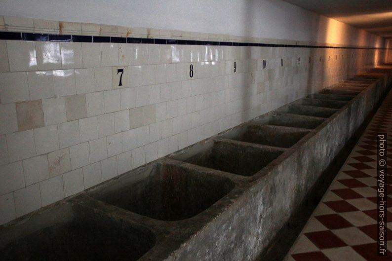 Bassins de lavage du poisson dans l'usine de Portimão. Photo © Alex Medwedeff