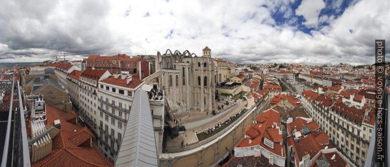 Panorama à 180° de la terrasse de l'Ascenseur de Santa Justa vers l'ouest. Photo © André M. Winter