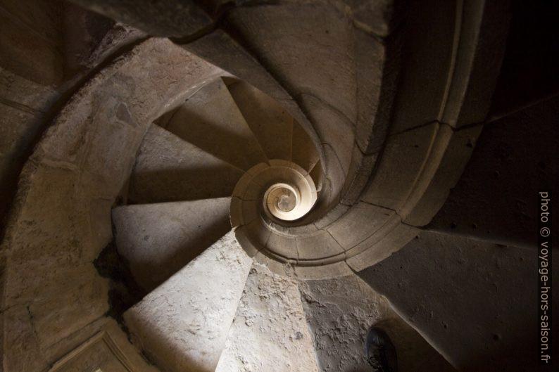 Vue verticale vers le bas dans un des escaliers hélicoïdaux du Claustro de Dom João III. Photo © André M. Winter