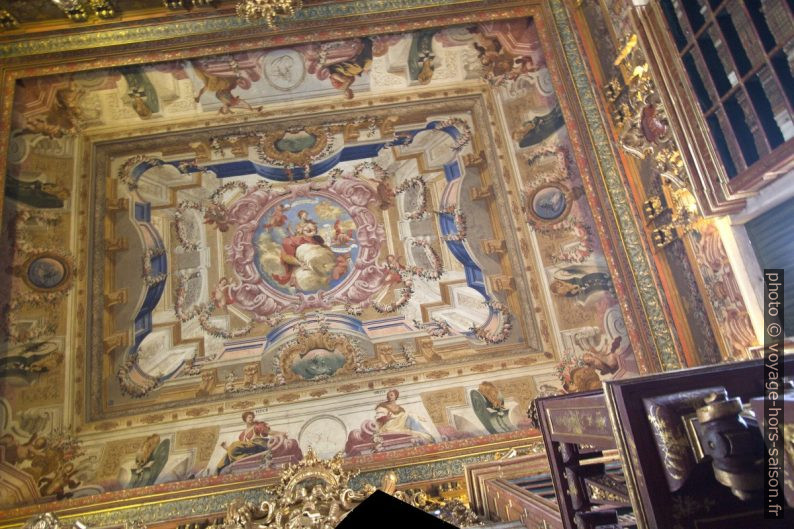 Plafond peint de l'une des salles de la Biblioteca Joanina. Photo © André M. Winter