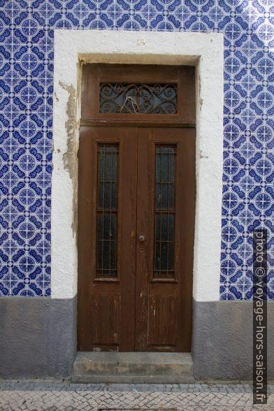 Une porte d'une maison couverte de carreaux bleus. Photo © Alex Medwedeff